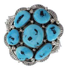 Sleeping Beauty Turquoise Navajo Genuine Sterling Silver Cuff Bracelet