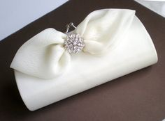 Elegant Ivory Bow Bridal Clutch Purse Elegant by blossomsandlace, $65.00