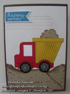 "Road & track card candy-Stampin Fantastic  Concrete Mixer Uses 1 1/4"" square for the cab, owl punch for the mixer and 1/2"" circles for the wheels."