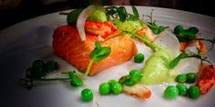 dec 2014. confit sea trout, pea mousse, peas, pea shoots, crayfish, fennel