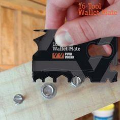 Cartão Multiusos de Metal 16 em 1 PWR Work Gadgets, Metal, 1, Tools, Wallet, Gifts, Industrial Design, Bricolage, Instruments
