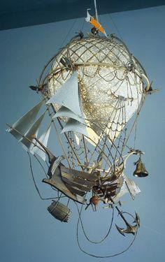 / flying ship / steampunk travel / it's a light fixture / Arte Steampunk, Steampunk Airship, Dieselpunk, Diorama, Air Ballon, Hot Air Balloon, Cardboard Sculpture, Sculpture Art, Arte Horror