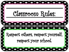 I created these rule signs for my classroom. They are polka dot themed and don't take up a lot of space! Enjoy! :)...