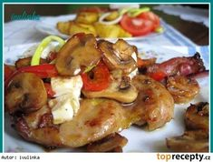 Kuřecí vykostěná stehna se žampiony na másle No Salt Recipes, Chicken Recipes, Kung Pao Chicken, Poultry, Baked Potato, Recipies, Food And Drink, Turkey, Low Carb