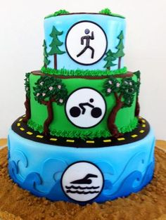 Gracie Moonpie & Co. | The Cake Gallery The perfect grooms cake for any triathlon athlete!!