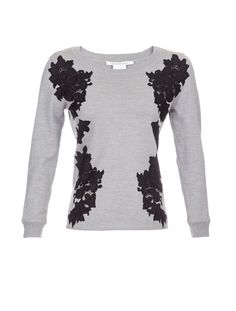 Diane Von Furstenberg Doreen Lace Sweater - A classic sweater from DVF finished with peekaboo lace applique panels.