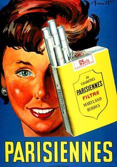 Vintage ad. Cigarettes Parisiennes - Ancienne publicité Parisiennes  #publicite #retro #parisiennes