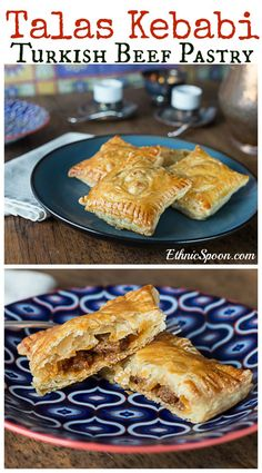 Turkish Meat Pastries Talas Kebabi: Turkish puff pastry with beef. Puff Recipe, Puff Pastry Recipes, Pastries Recipes, Vegetarian Lentil Soup, Flaky Pastry, Eastern Cuisine, Turkish Recipes, Russian Recipes, Middle Eastern Recipes