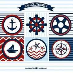 Sailing badges in red and blue colors Free Vector Baby Shower Themes, Baby Boy Shower, Sailor Party, Nautical Party, Nautical Quilt, Scrapbooking, Happy B Day, Kids Prints, Deco Table