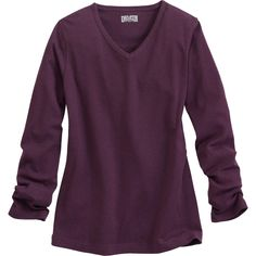 """The sun-blocking Women's Longtail T® Long Sleeve V-neck Shirt is shrink resistant, fade proof and an extra 2"""" longer than ordinary tees to stay tucked."""
