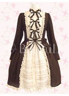 $99.49Coffee Front Bows Long Sleeves Cotton Punk Lolita Dress