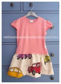 He usado (para talla 3-4 años): una camiseta de su talla un trozo de tela de 120 x 30cm para la falda otro trozo de tela para decorar ...