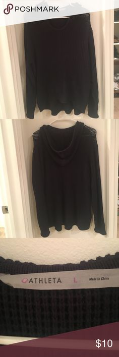 Athleta Knit Navy Blue Hooded Sweater Long Athleta Knit Navy Blue Hooded Sweatshirt size large. Semi sheer material. Perfect condition. Color is a dark navy blue. Athleta Sweaters