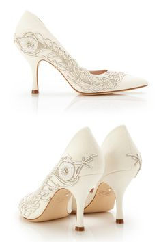 dc126bcfc57 Emmy London Amelia with Feather Bridal Shoes Pointed Court Shoe www. emmylondon