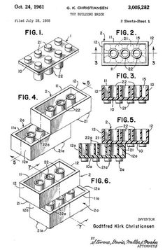 the original lego patent from 1958...LEGOs from 1958 are still compatible with ones today. Seriously, how many toy makers can legitimately say that their original design was so perfect that over half a century later, the basic components haven't needed to be improved?