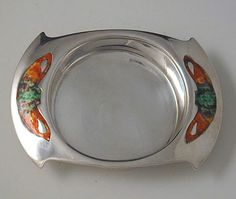 Liberty & Co Silver Cymric Butter Dish with enamels - Archibald Knox - 1905