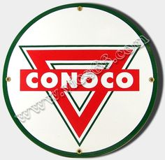 CONOCO TRIANGLE PORCELAIN COAT SIGN Gas Fuel Oil Station Home Farm Garage Decor