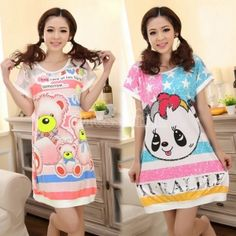 $5.60New Cute Cartoon Womens Girl Short Sleeve Nightgown Sleepwear Pajamas dress