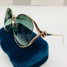 7ffaf54b39 GUCCI GG0225S 004 Oversized Sunglasses BRAND NEW / AUTHENTIC Gucci 0225S  004 Gold Red/White