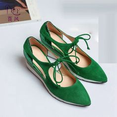 (61.00$)  Buy here - http://aiovv.worlditems.win/all/product.php?id=32801495198 - 2017 New Leisure Pointy Toe Lace-up Slope Heels Wedges For Women Gray Green Suede Fashion All-match Ladies Singles Shoes