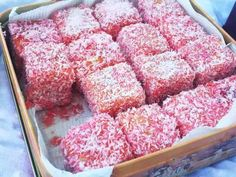 Raspberry-Rose Lamingtons – It's All Frosting… Cake Dip, No Bake Cake, Cute Desserts, Delicious Desserts, Awesome Desserts, Lamingtons Recipe, Lithuanian Recipes, Cake Recipes, Dessert Recipes