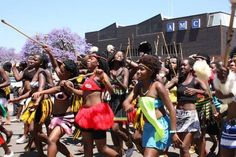 King Mzilikazi Day Celebrations2011.   Young women dance in the procession.