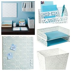 Desk Accessories Collection from the Container Store.  It's called Brocade.