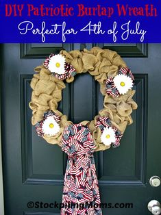 DIY Patriotic Burlap Wreath is the perfect decor for your front door for 4th of July! Such a fun and easy craft to do.