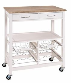101.- Haku Küchenwagen weiß-eiche hell mit 2 Schubladen, 2 Körbe und 2 Flaschenhalter