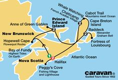 All inclusive, guided Caravan Nova Scotia tours from Halifax PEI, New Brunswick, Cabot Trail, and Cape Breton Island on tour itinerary. East Coast Travel, East Coast Road Trip, Alberta Canada, East Coast Canada, Nova Scotia Travel, All Inclusive Vacation Packages, Dream Vacations, Cabot Trail, Ontario