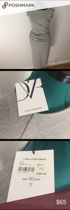 DVF Heathered Grey Dress Diane von Furstenberg side-rouched form-hugging dress. Knee length (or t-length if you're shorter in height). Size 4. Brand new, tags attached! Diane von Furstenberg Dresses Midi