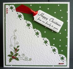 "[Glitterarti.............Card Creations by Barbara Daines: More Simple Christmas Cards.....]   this could also be cute ""inside"" the Christmas card to hold a photo."