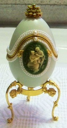 Vintage Collectible Decorative / Musical Egg with Cameo and Jewels / Highly Collectible Goose Egg / Special Easter Gift