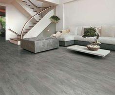 Abbinamenti pavimento grigio - Arredi beidge e pavimento grigio effetto legno