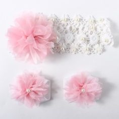 Hopscotch | Buy La La Lillies Adorable Crochet Flower Headband and Barefoot Sandals With Pearls on Hopscotch.in in India