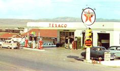 Postcard Texaco Gas Station Highland Village, Alpine Texas