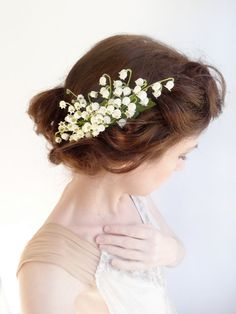 Lily of the valley hairpiece. Bridal hair accessories by The Honeycomb on Etsy Wedding inspiration and ideas here: www.weddingideastips.com