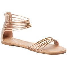 Tiara Rose Gold Strappy Joni Gladiator Sandal ($12) ❤ liked on Polyvore featuring shoes, sandals, strappy gladiator sandals, strap shoes, strap sandals, strap gladiator sandals and gladiator sandal