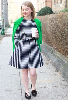 Poor Little It Girl - Gap Striped Dress and Green Cardigan with Sole Society Black Flats Green Cardigan, Fashion Over 50, Striped Dress, Nice Dresses, Cool Outfits, Street Style, Style Inspiration, Clothes For Women, My Style