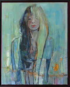 Marga Klumper. Hippiegirl Olieverf op linnen met baklijst. Uit de serie meisjes/vrouwen.