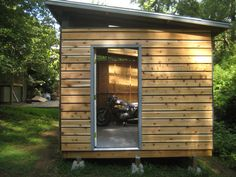 Complete Shed plans are now available. Check out the latest post on diyatlantamodern. here: I just completed the first phase of my shed project. I found inspiration, t… Garden Shed Diy, Garden Storage Shed, Backyard Sheds, Outdoor Sheds, Patio Storage, Outdoor Sauna, Wood Storage, Diy Storage, Garden Ideas