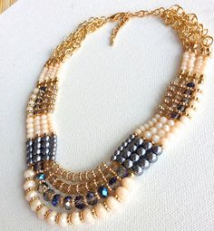 Bib Necklace Accented with Pearl Crystal Beads 4 Row Statement Necklace Wedding Party Jewel Choker High Fashion Jewelry Bridal Party on Etsy, $25.00