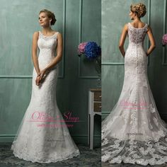 2014 Lace Wedding Dresses with Srtaps Scoop Sleeveless Applique Sheer Mermaid Court Train Vestido De Noiva Modest Garden Bridal Gowns Bo6048 Online with $134.78/Piece on Olisha's Store | DHgate.com