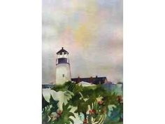 """Watercolor by the Famous Sylvia Brofos, entitled """"Austrian Lighthouse."""" It can be yours...bid now!"""
