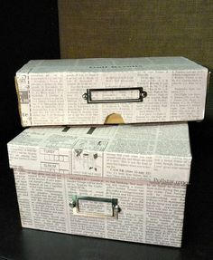 Cover Shoeboxes With Newspaper For Stylish Frugal Storage !