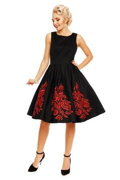 e25c083910a Annie Embroidered Roses Swing Dress in Black Red