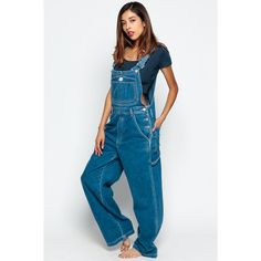 90s Denim Overalls Women Pants CALVIN KLEIN Grunge Baggy ❤ liked on Polyvore featuring jumpsuits, baggy overalls, vintage denim jumpsuit, blue overalls, denim jumpsuits and calvin klein overalls