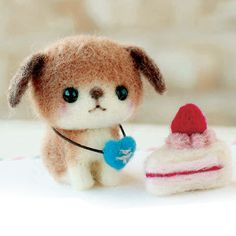 DIY Needle wool felt cute dog and cake set KIT by HanamiBoutique, $13.90