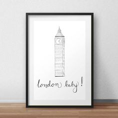 London baby London print hand drawn hand by HomeDecorDrawing