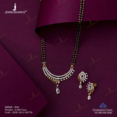 Gemstone Mangalsutra jewellery for Women by jewelegance. ✔ Certified Hallmark Premium Gold Jewellery At Best Price Gold Jewelry Simple, Funky Jewelry, Gold Bangles Design, Gold Jewellery Design, Jewelry Design Earrings, Beaded Jewelry, Gold Mangalsutra Designs, Indian Jewelry Sets, Ahmedabad